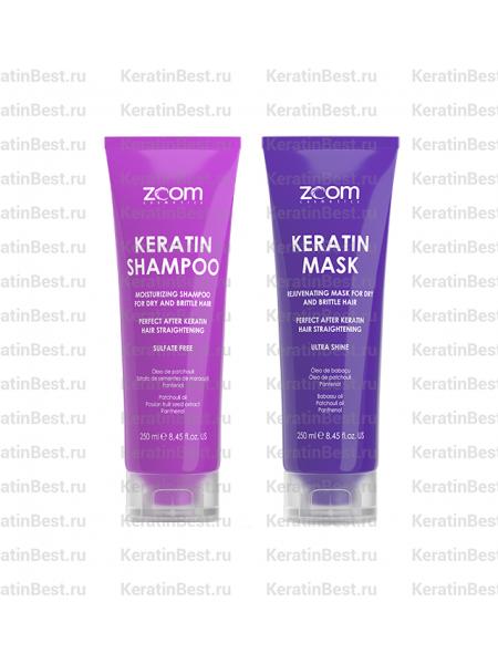 ZOOM Keratin Shampoo 250 ml + Keratin Mask 250 ml.